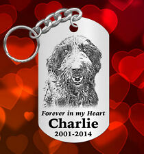 Laser Engraved Picture Photo Keychain of your DOG Cat Pet Horse. Special Gift!