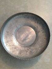 "VINTAGE ""DESIGNED ALUMINUM"" HAND HAMMERED FRUIT & FLORAL LARGE BOWL SERVING TRAY"