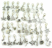 50pcs Mix Dangle Bead Drop Charms Lobster Clasp Locket Chain Clip On Jewelry L02