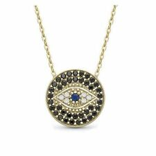 Petite 18k Gold Plated Crystal Eye of Providence Pendant Necklace Evil Eye