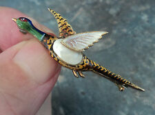 Vintage 9ct Gold & Enamel Pearl Brooch - Pheasant - Shooting / Hunting c.1900/10