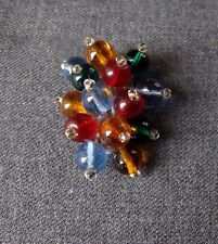 ANTIQUE 1930'S COLORED GLASS BEADS SILVERED METAL BROOCH CLIP PIN