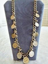 "Gold Metal Coin & Ball Necklace 30"" Double Curb Chain Alexander the Great Coins"