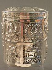 Argento indiano circolare CONTENITORE BARATTOLO & Coperchio, ben in rilievo con animali ecc.