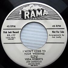 VEDA ROBERTS It's Funny / I Won't Come To Your Wedding WhiteLabel PROMO 45 e5364