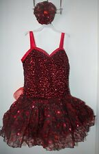 NEW Medium Adult Red Black Lace Sparkle Ice Figure Skating Dance Dress Hairpiece
