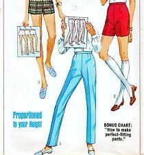 """Vintage 60s SLIM CIGARETTE PANTS & SHORTS Sewing Pattern UNCUT Waist 24"""" Size 8"""