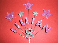 Personalised Star Birthday Cake Topper/Decoration - Pink/Silver - Any Name/Age