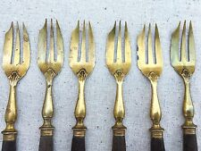 VTG Yellow metal FORKS with WOOD HANDLE Flatware