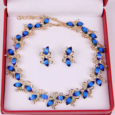 Fashion Rhinestone Necklace Earrings Blue Resin Wedding Gift Jewelry Sets