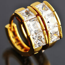 womens Fashion Crystal Square hoop earrings Authentic 14K Yellow Gold Plated