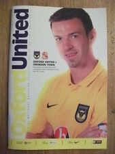 OXFORD UNITED V SWINDON TOWN - JPT 1st Round - FOOTBALL PROGRAMME 2012
