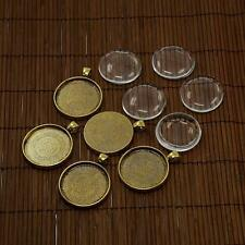 5Set DIY Jewelry Making 30mm Glass Cabochons Alloy Pendant Portrait Base Setting