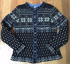 LL Bean Lambs Wool Cardigan Sweater Size L Nordic Fair Isle Pewter Button Front