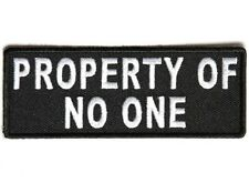 "(F12) PROPERTY OF NO ONE 4"" x 1.5"" iron on patch (4750) Biker Vest Patches"