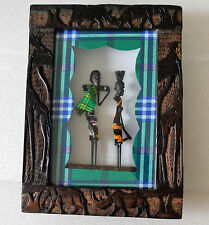 African figures Tribal art in carved wood frame animals rhino elephant giraffe
