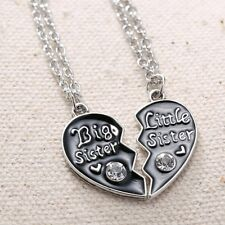 "2pcs HOT ""Big Sister""&""Little Sister"" Crystal Heart Necklace Pendant Jewelry"