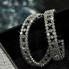 18k white gold gp genuine SWAROVSKI crystal hoop stud earrings 925 silver hoops