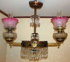 Antique Jeweled Victorian Double Arm Chandelier Gas to Oil Brass Ceiling Fixture