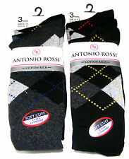 6 PAIRS MENS ANTONIO ROSSI BLACK & COLOUR ARGYLE COTTON RICH DIAMOND SOCKS - NEW