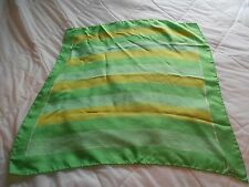 Vintage Vera Polyester Square Scarf Shades of Green Stripe Pattern 1970's