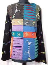 FAIR TRADE GRINGO ETHNIC HIPPY FESTIVAL PATCHWORK DESIGN LONG SLEEVE TOP S/M