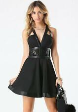 NWT bebe black deep v neck Leather trim cutout flare t back XS 2 top dress party