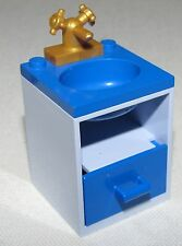 LEGO BLUE BATHROOM SINK SET UP BLUE TOP CUPBOARD AND GOLD FAUCET