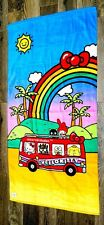 "NEW Universal Studios Hello Kitty Tour Bus Rainbow 30"" x 60"" Beach Towel"