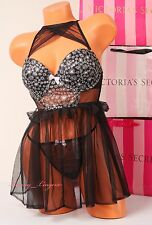 NWT Victoria's Secret Lingerie Set VS Flyaway Babydoll Push-up Bra 34C String S