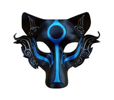 Half Face Leather Japanese Samurai Wolf Head Cosplay Mask Masque Halloween Party