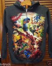 NWT - Gray Marvel Comics - Avengers - Zip-Up Hoodie / Sweatshirt w/ Hood - Sz XS