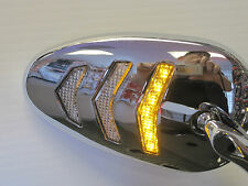 Sequential LED Turn Signal Motorcycle Mirror Set in Chrome for Harley and Others