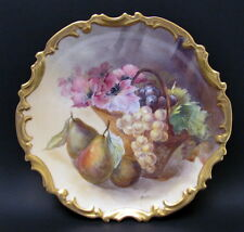 """Antique HP Large 13"""" Limoges Still Life Grapes Charger Plate Muville Early 1900"""