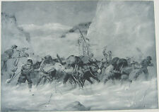 CALIFORNIA GOLD RUSH SUPPLY HORSES IN MOUNTAIN SNOW STORM ~ Old 1888 Art Print