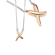 Stainless Steel Silver and Rose Gold X Shape Pendant with Chain Necklace