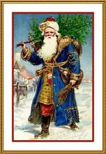Vintage Victorian Santa  Father Christmas # 406 Counted Cross Stitch Chart Graph