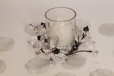 Candle in Votive, black & clear flowers,favour, elegant crystal candle holder