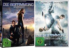4 DVDs * DIE BESTIMMUNG TEIL 1+2 ( DIVERGENT / INSURGENT ) FAN -SET # NEU OVP $