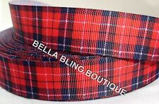 "2 METRE RED TARTAN SCOTLAND GROSGRAIN RIBBON 22MM 7/8""HAIR BOW CAKE CARD"
