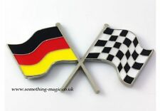 Émail chrome drapeau allemand & chequered flag crossing voiture badge vw allemagne
