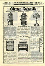 1927 ADVERTISEMENT 2 Sided Coleman Quick Lite Lantern Camp Stove Lamp
