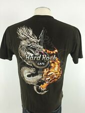 Hard Rock Cafe Hong Kong TShirt M Medium Brown Short Sleeve Guitar Dragon Tiger