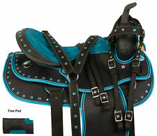 16 17 TEAL BLACK WESTERN PLEASURE TRAIL HORSE SYNTHETIC SADDLE TACK SET PAD