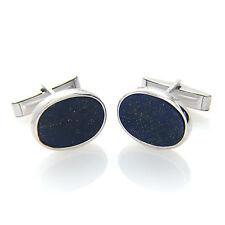 925 Sterling Silver Flat Oval Shaped Lapis Lazuli Gemstone Cufflinks Mens Gift