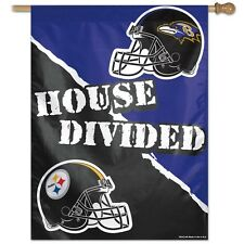 "PITTSBURGH STEELERS BALTIMORE RAVENS HOUSE DIVIDED 27""X37"" BANNER FLAG WINCRAFT"