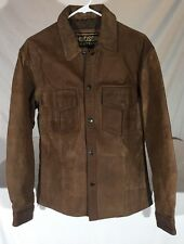 Hudson Leather Brown Leather Shirt Jacket Shirt-Jac Men's S Lined Snaps Thick
