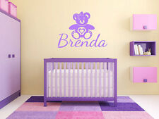 "Teddy Bear Name Monogram Girls Bedroom Vinyl Wall Decal Graphics Bedroom 28""Tall"