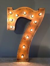 """24"""" Vintage Marquee Light Number 7  (rustic)  24"""" Free Shipping"""