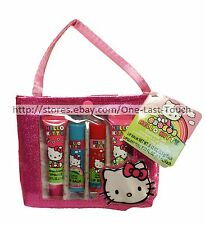 HELLO KITTY 5pc Cosmetic Set TOTE BAG/PURSE Scented Lip Gloss+Balm SANRIO New!